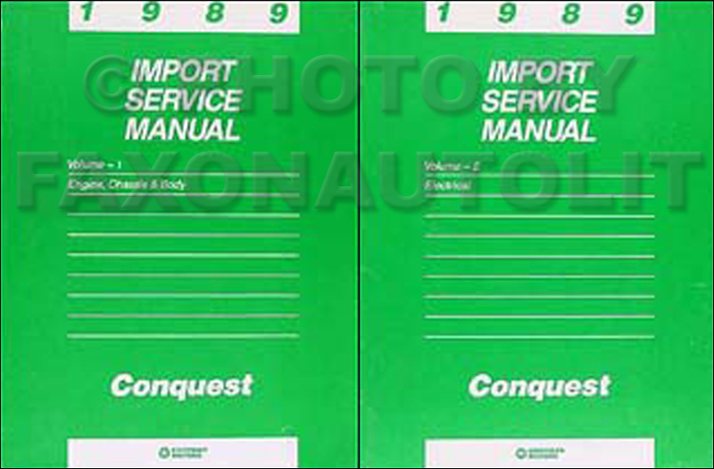 1989 Chrysler Conquest Shop Manual Original 2 Volume Set