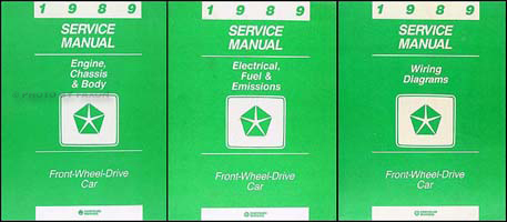 1989 MoPar FWD Car Repair Manual 3 Vol Set