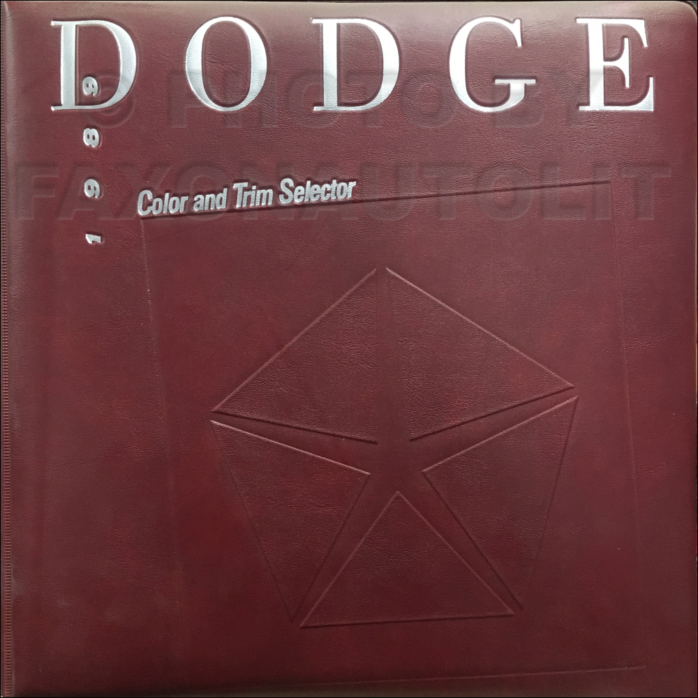 1989 Dodge Car Color & Upholstery Album Original