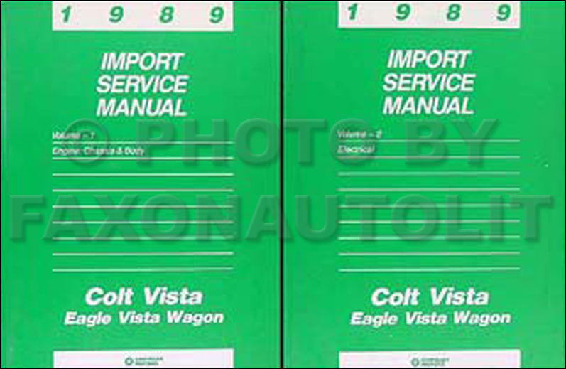 1989 Colt Vista & Vista Wagon Shop Manual Original 2 Volume Set