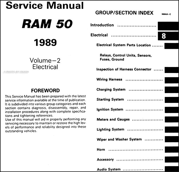 1989 dodge ram 50 truck repair shop manual original 2 volume set 06 dodge ram wiring diagram table of contents page 2