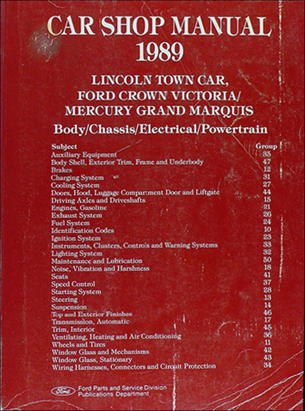 1989 Lincoln Town Car, Ford Crown Victoria, & Mercury Grand Marquis Shop Manual Original