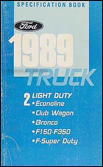 1989 Ford Pickup and Van Service Specification Book Original