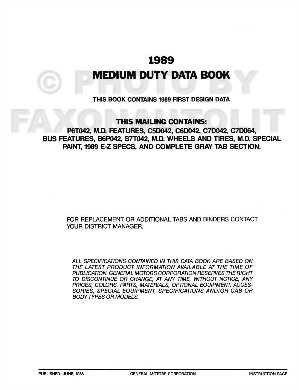 1989 GMC Medium Duty Data Book Original