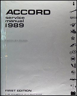 1989 Honda Accord Repair Manual Original