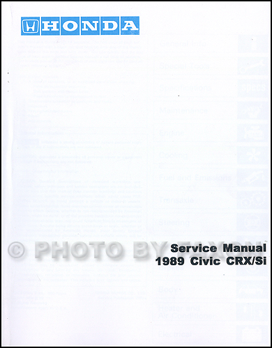 1989 Honda Civic CRX Repair Shop Manual Factory Reprint
