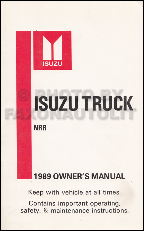 1989 Isuzu NRR Truck Owner's Manual Original