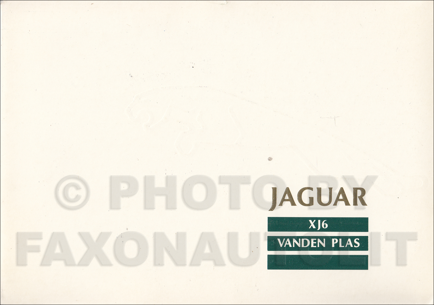 1989 Jaguar Vanden Plas Owner's Manual Supplement Original