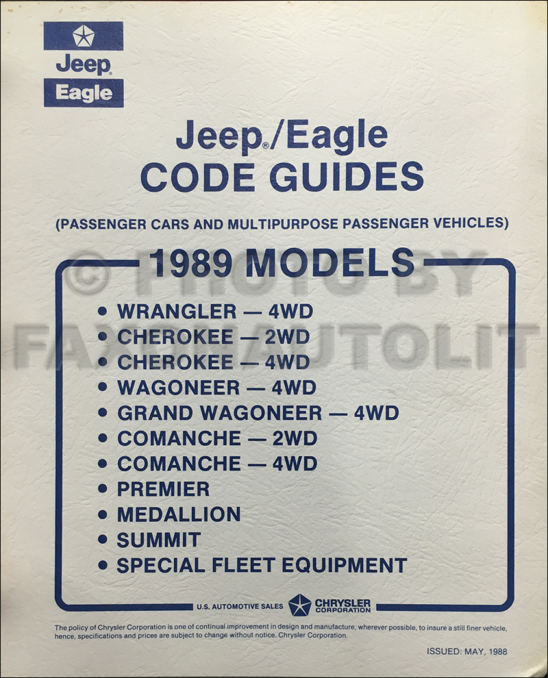 1989 Jeep Ordering Guide Original