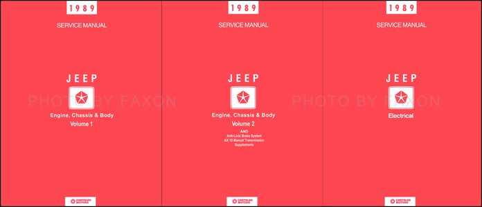 1989 Jeep Shop Manual Original 4 Volume Set--All Models