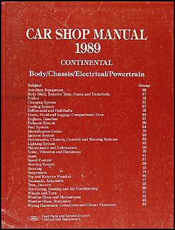 1989 Lincoln Continental Shop Manual Original
