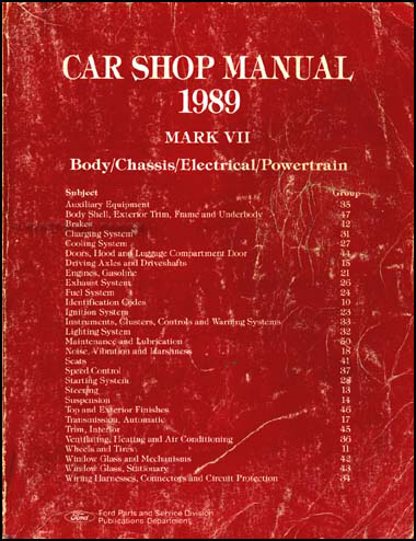 1989 Lincoln Mark VII Shop Manual Original