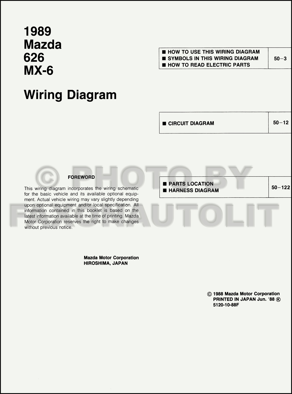 1989 Mazda 626 And Mx 6 Wiring Diagram Manual Original Electrical Click On Thumbnail To Zoom