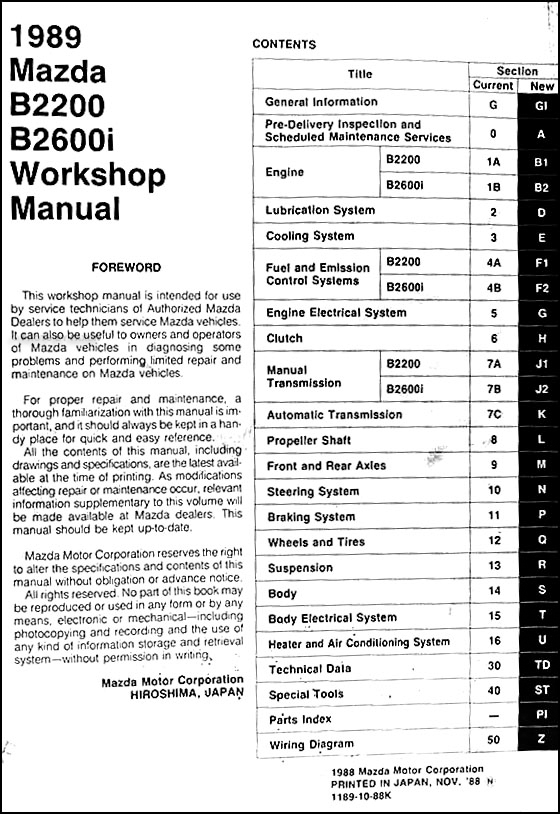 1989 Mazda Pickup Truck Repair Shop Manual Original B2200  U0026 B2600