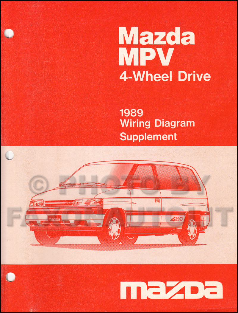 1989 Mazda MPV 4WD Wiring Diagram Manual Supplement Original