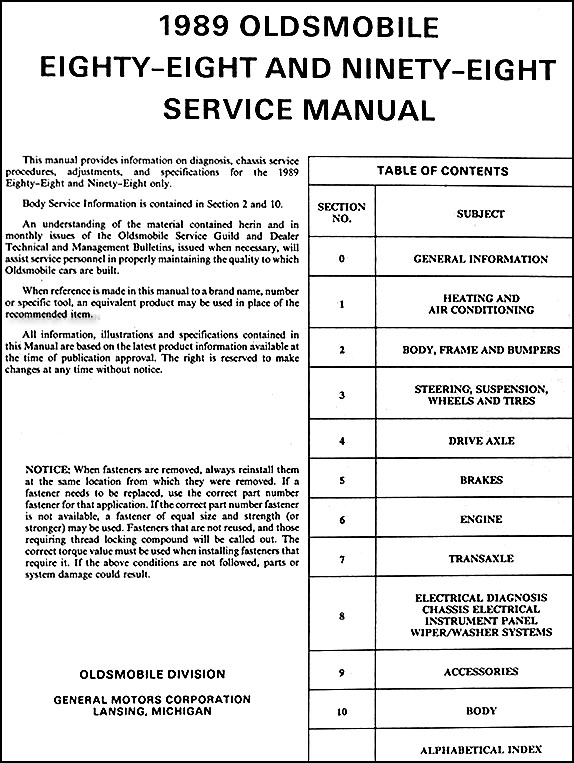 1989 oldsmobile 88 royale, ninety eight regency repair shop manual original 1966 olds 98 generator wiring diagram