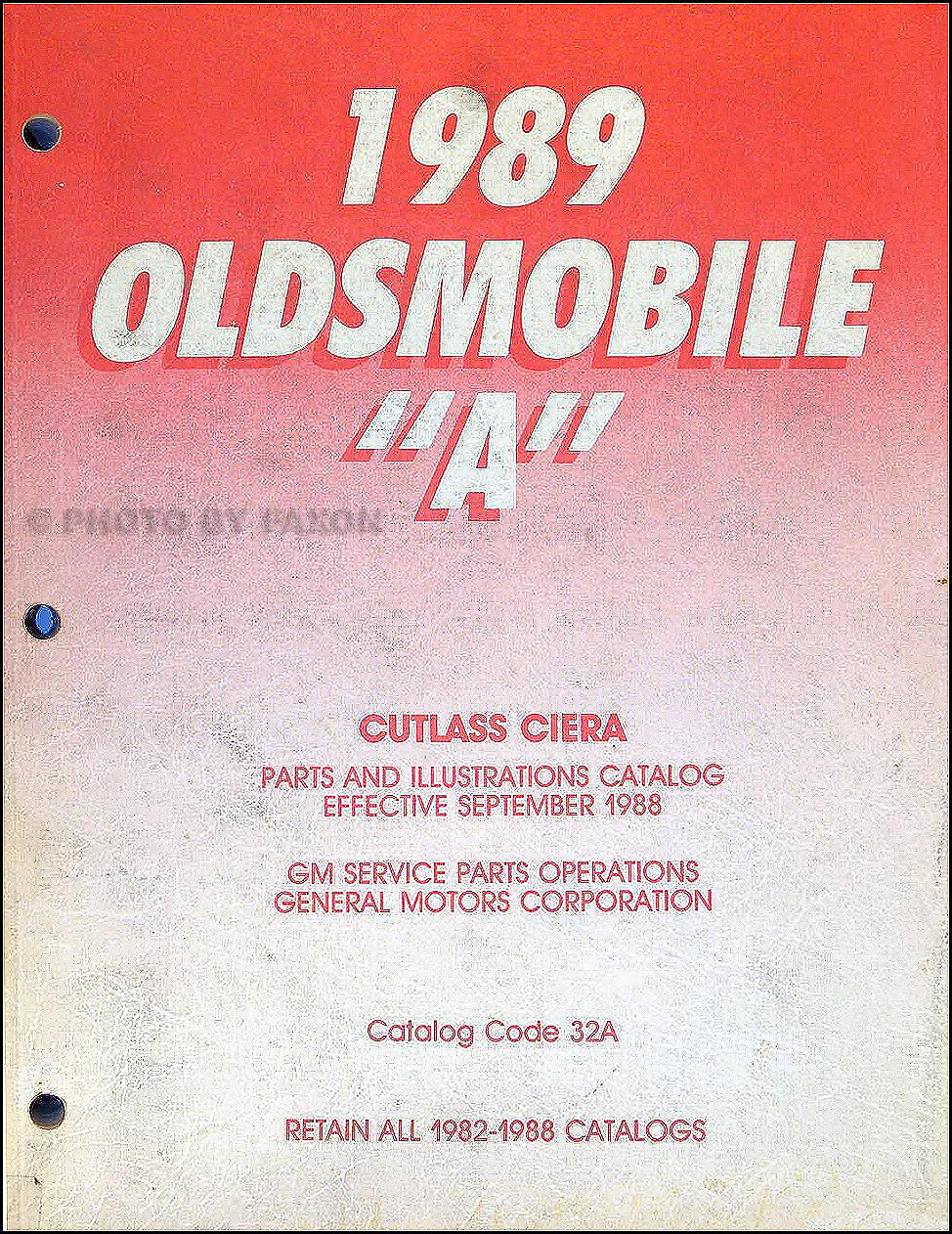 1989 Oldsmobile Cutlass Ciera Parts Book Original
