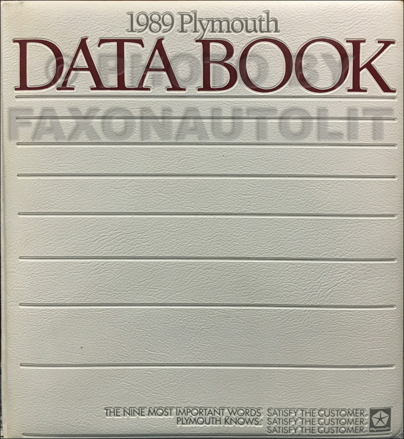 1989 Plymouth Data Book Original