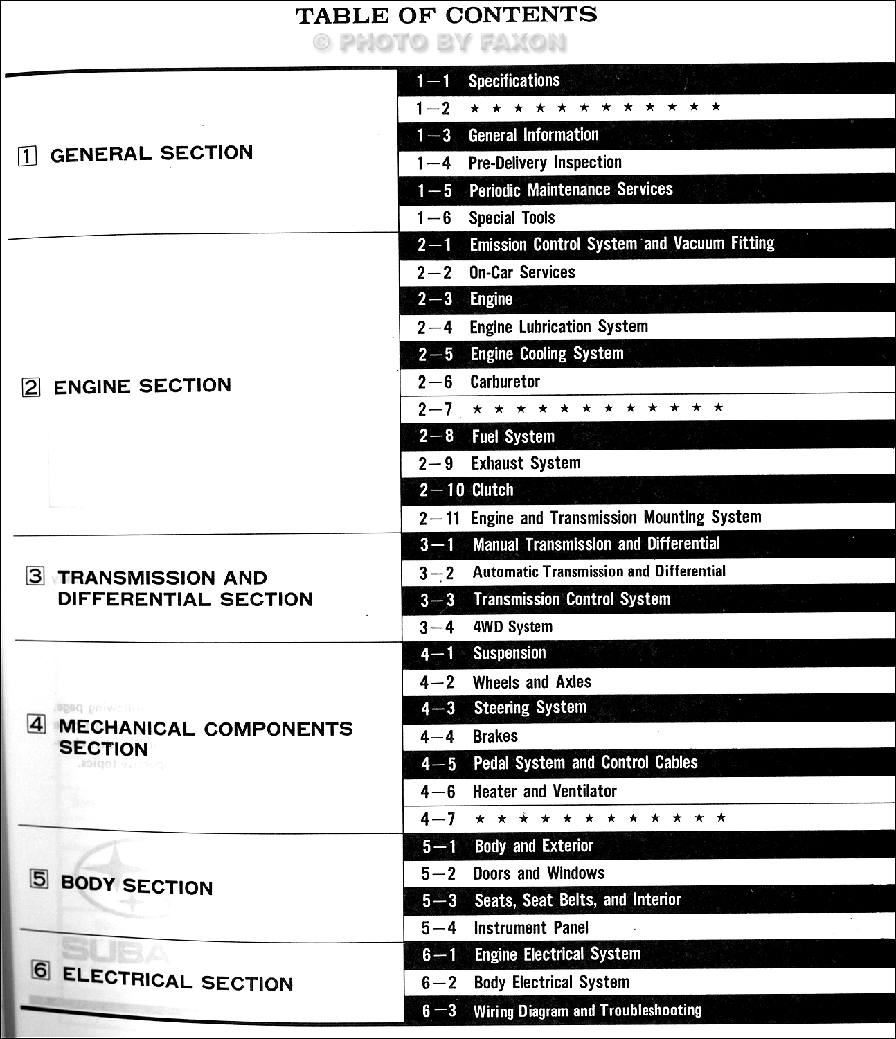 1988 subaru justy repair manual original � table of contents
