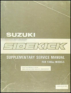 1989 Suzuki Sidekick 1300cc Repair Manual Supplement Original