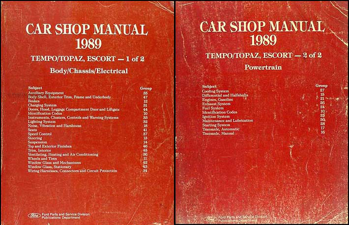 1989 Ford Tempo Escort Mercury Topaz Repair Shop Manual 2 Vol. Set Original