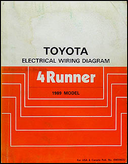 1989 Toyota 4Runner Wiring Diagram Manual Original on