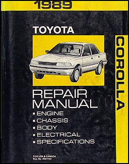 1989 Toyota Corolla Repair Manual Original