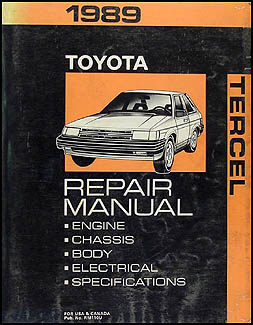 1989 Toyota Tercel Repair Manual Original
