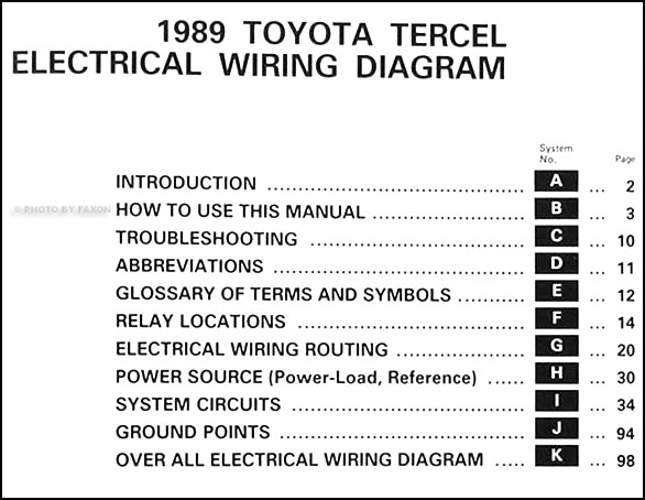 1989 Toyota Tercel Wiring Diagram Manual Original