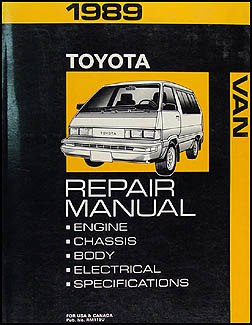1989 Toyota Van Repair Manual Original