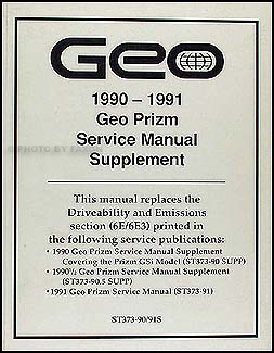 1990-1991 Geo Prizm Driveability/Emission Shop Manual Update Original