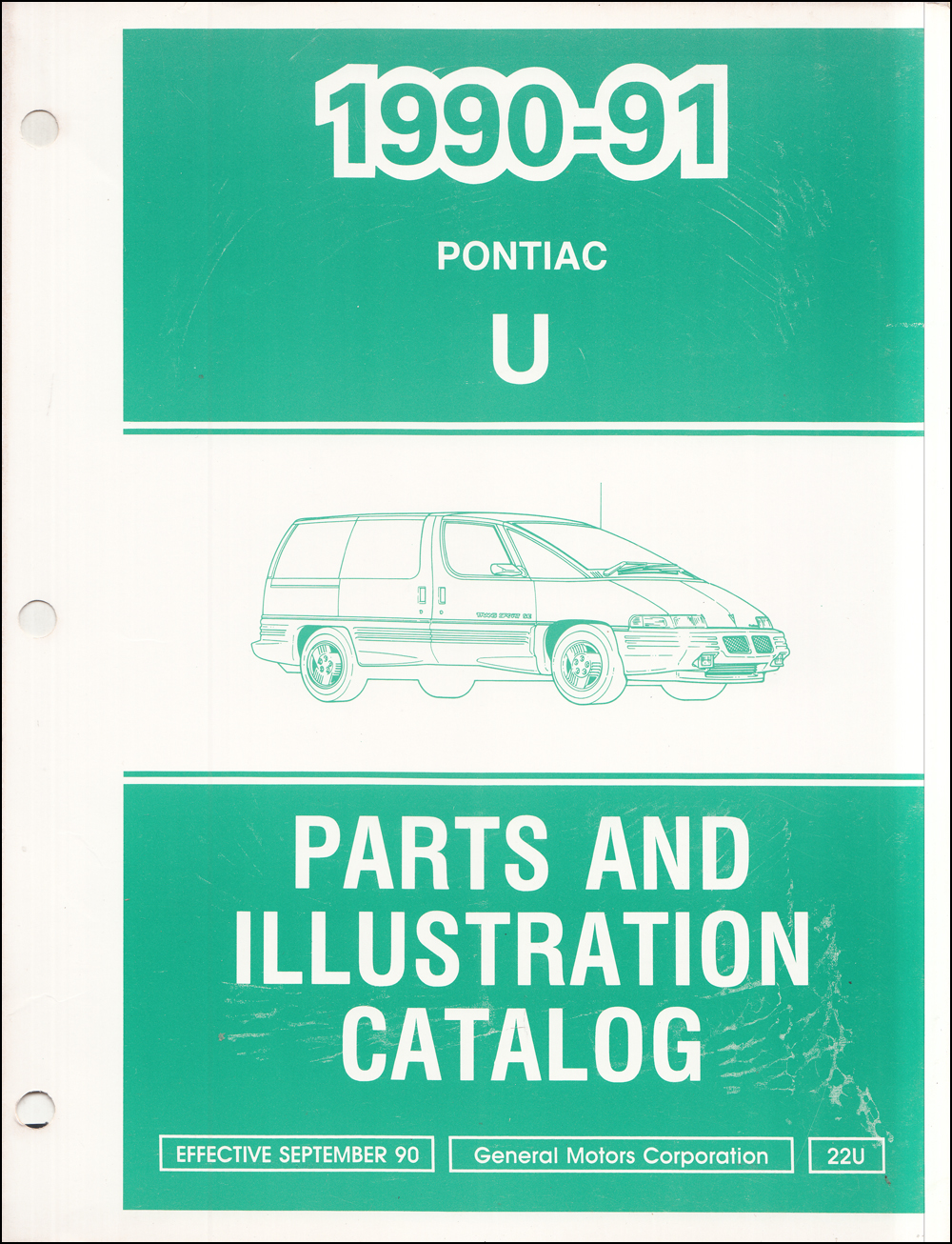 1990-1991 Pontiac Trans Sport Van Parts Book Original
