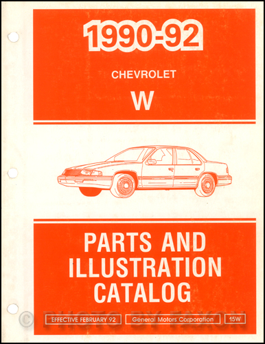 1990-1992 Chevrolet Lumina Car Parts Book Original