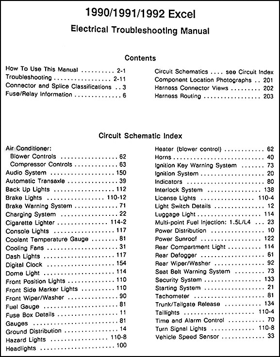 1990 1992 hyundai excel electrical troubleshooting manual original rh faxonautoliterature com