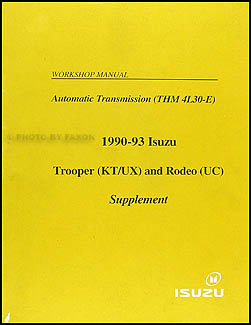 1990-1993 Isuzu Trooper & Rodeo Auto Transmission Repair Shop Manual Supp.