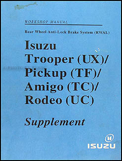 1990-1993 Isuzu Truck & SUV (RWAL) Repair Manual Supplement Original