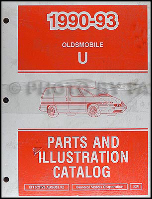 1990-1993 Oldsmobile Silhouette Van Parts Book Original