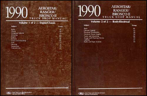 1990 Ford Aerostar, Ranger, & Bronco II Repair Shop Manual Set Original