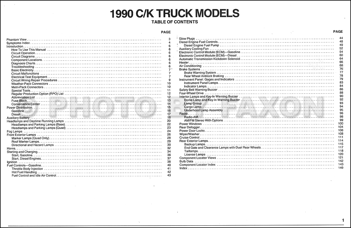 1990 Chevy C K Pickup Wiring Diagram Manual Original As Well Electrical Diagrams Chevrolet Cars