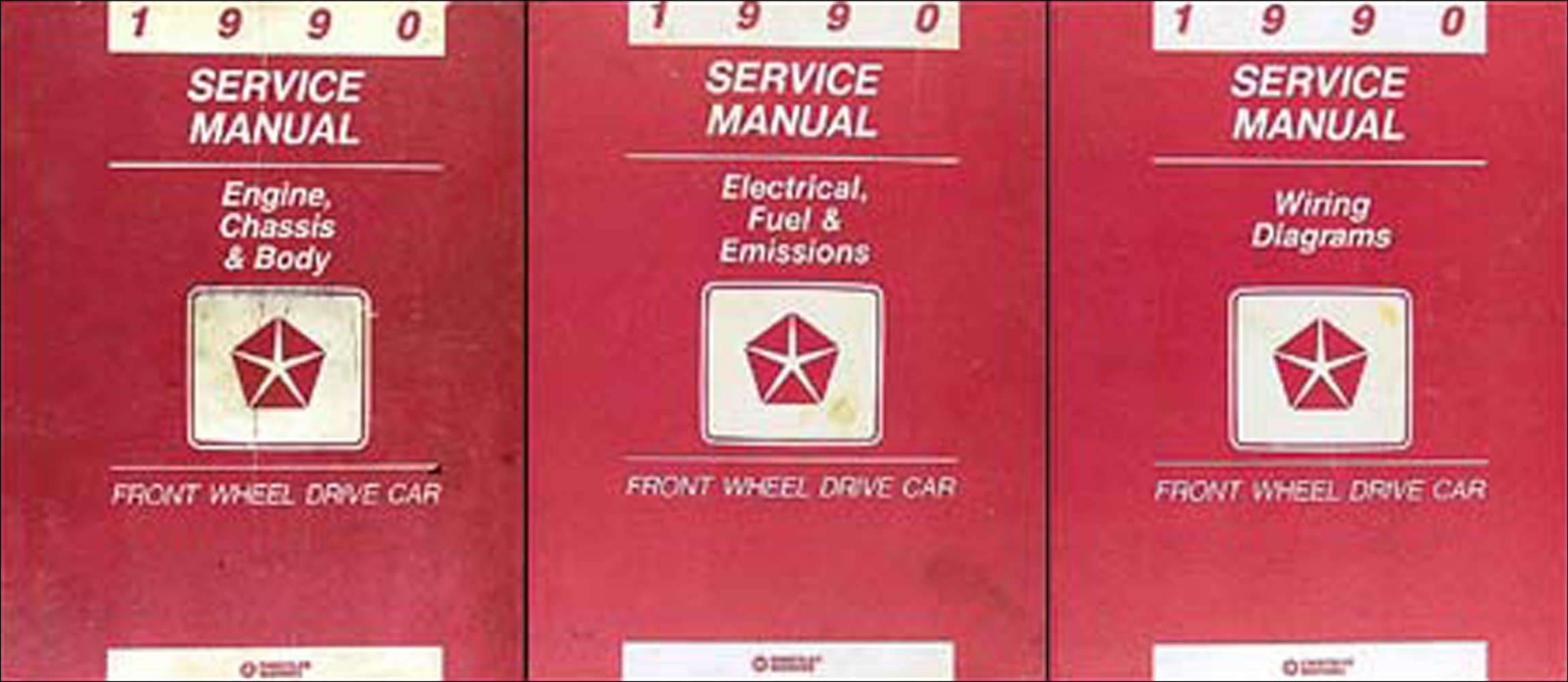 1990 MoPar FWD Car Repair Manual 3 Vol Set