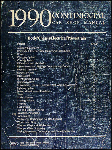 1990 Lincoln Continental Shop Manual Original