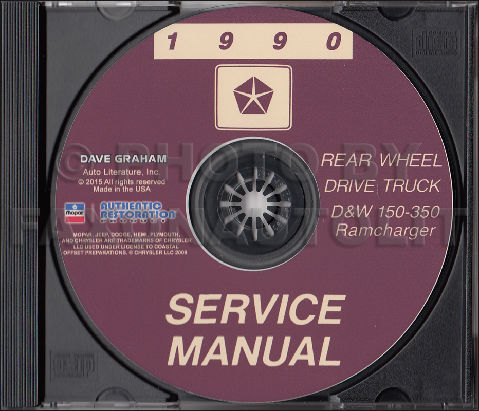 1990 Dodge Ramcharger and Pickup D&W 150-350 Repair Shop Manual CD