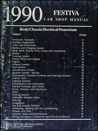 1990 Ford Festiva Shop Manual Original
