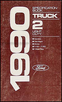 1990 Ford Pickup and Van Service Specification Book Original