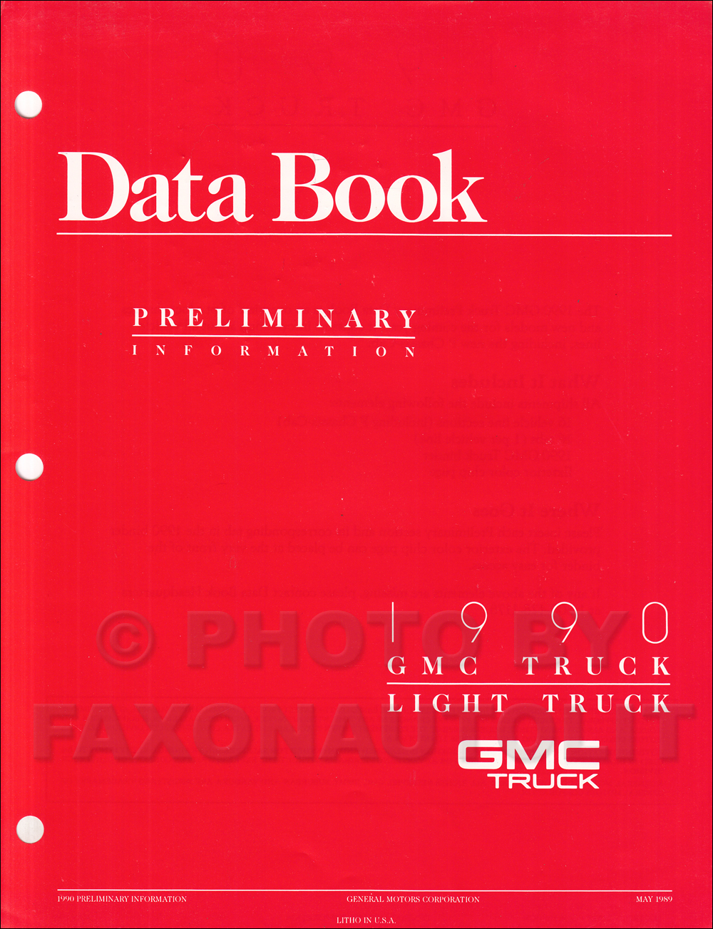 1990 GMC Light Duty Preliminary Data Book Original