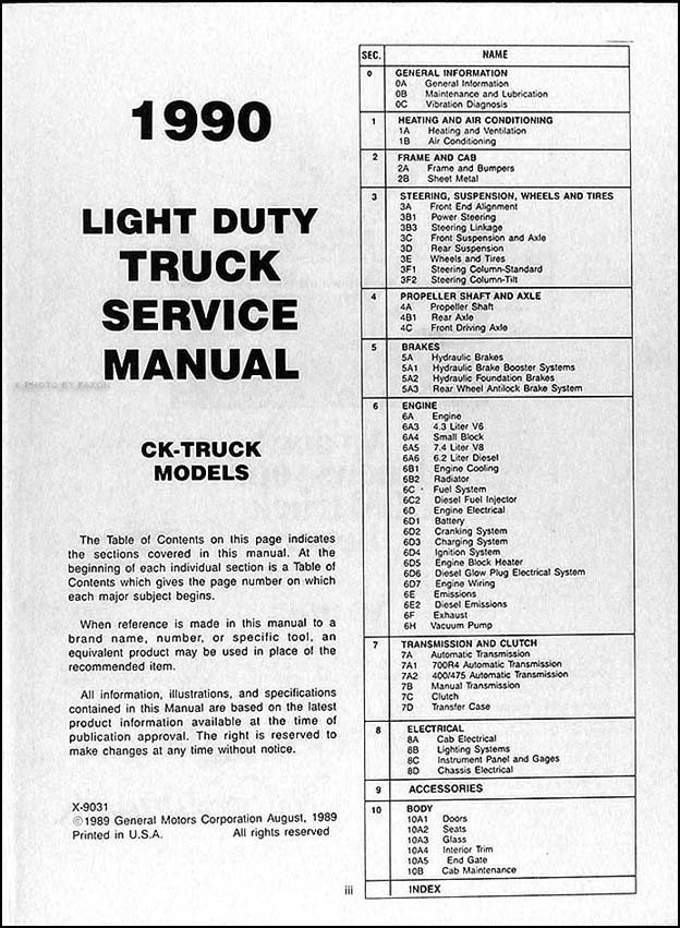 1990 gmc c k sierra pickup repair shop manual original 1500, 2500 chevy blazer diagram table of contents