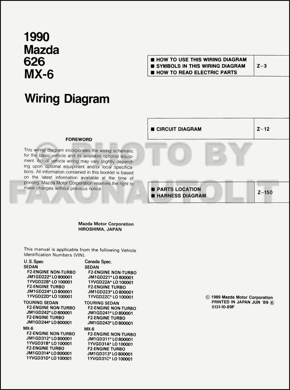 1990    Mazda       626    and MX6    Wiring       Diagram    Manual Original