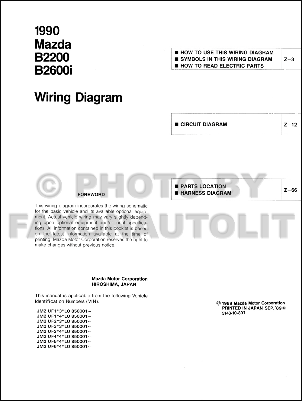 1990 Mazda B2600i B2200 Pickup Truck Wiring Diagram Manual Original For 1988 Engine Click On Thumbnail To Zoom
