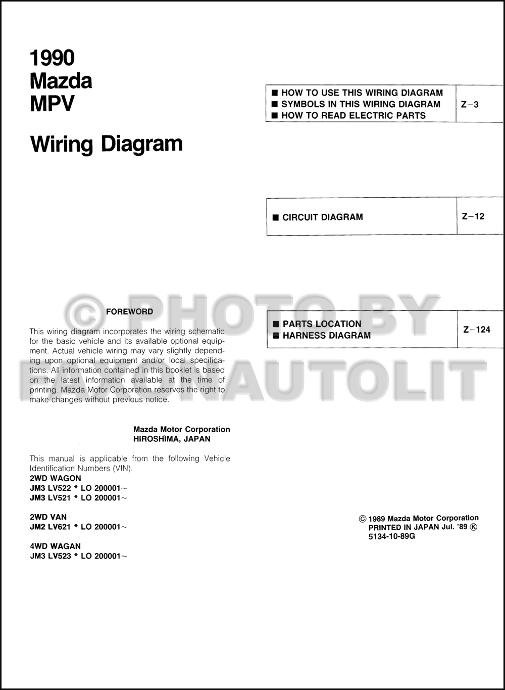 1990 Mazda Mpv Wiring Diagram Manual Original All 3 0