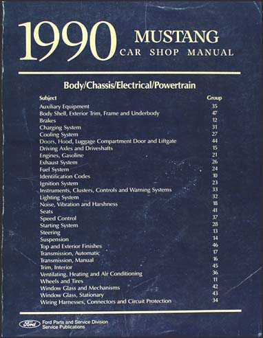 1990 Ford Mustang Shop Manual Original